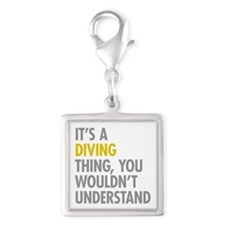 Its A Diving Thing Silver Square Charm