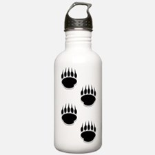 Black Bear Paw Prints Water Bottle