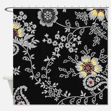 Black flower Shower Curtain