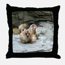 snow monkeys Throw Pillow