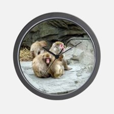 snow monkeys Wall Clock
