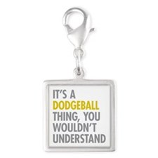 Its A Dodgeball Thing Silver Square Charm