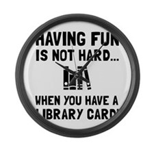 Library Card Fun Large Wall Clock