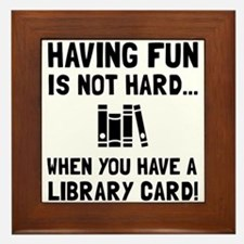 Library Card Fun Framed Tile