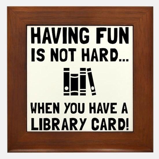 Library Card Fun Framed Tile