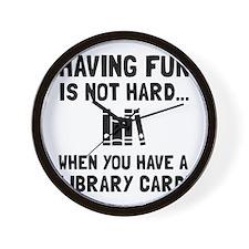 Library Card Fun Wall Clock