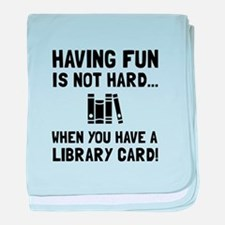 Library Card Fun baby blanket