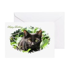 "Black Cat ""Happy Birthday"" Greeting Card"