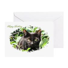 "Black Cat ""Happy Birthday"" Greeting Card"