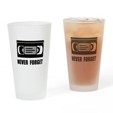 VCR Tape Never Forget Drinking Glass