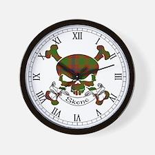 Skene Tartan Skull Wall Clock