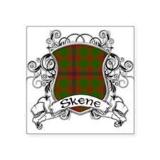 "Skene Tartan Shield Square Sticker 3"" x 3"""