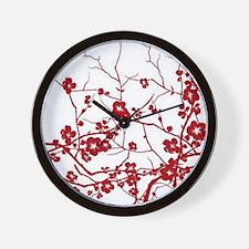 modern zen red plum flower floral print Wall Clock