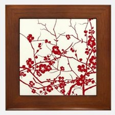 modern zen red plum flower floral prin Framed Tile