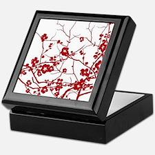 modern zen red plum flower floral pri Keepsake Box