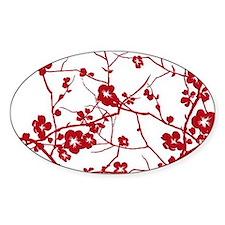 modern zen red plum flower floral p Decal