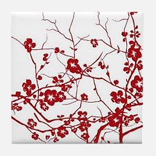 modern zen red plum flower floral pri Tile Coaster