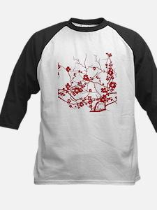 modern zen red plum flower floral print Baseball J