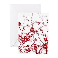 modern zen red plum flower floral print Greeting C