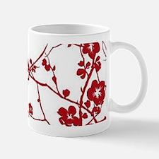 modern zen red plum flower floral print Mugs
