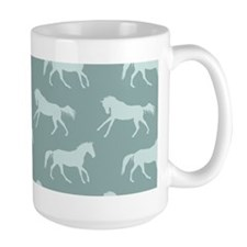 Blue Galloping Horse Pattern Mugs