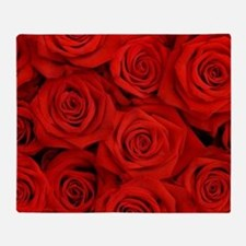 modern romantic red rose petals Throw Blanket