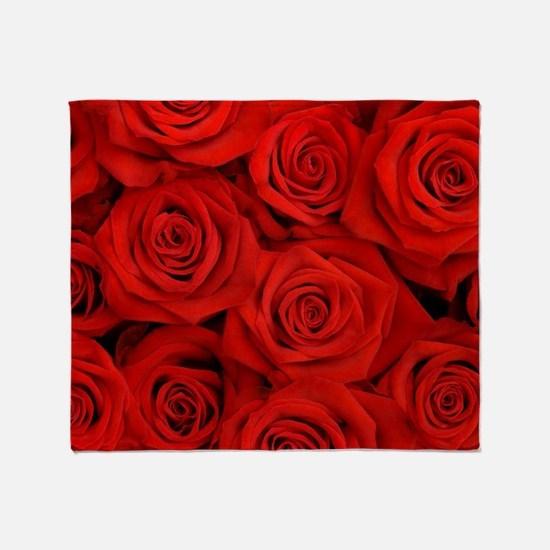 modern romantic red rose petals Throw Blanket
