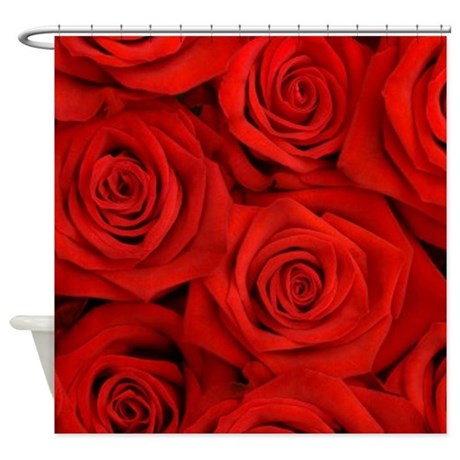 Nice Cute Red Rose Shower Curtain