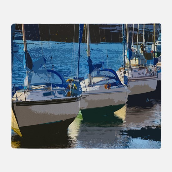 Blue Boats 2 Throw Blanket