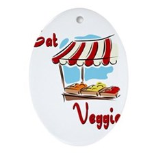 eat veggies to grow up strong Ornament (Oval)