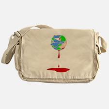earth with bandaid bleeding.PNG Messenger Bag