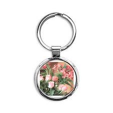 Rose Bouquet 2 Round Keychain