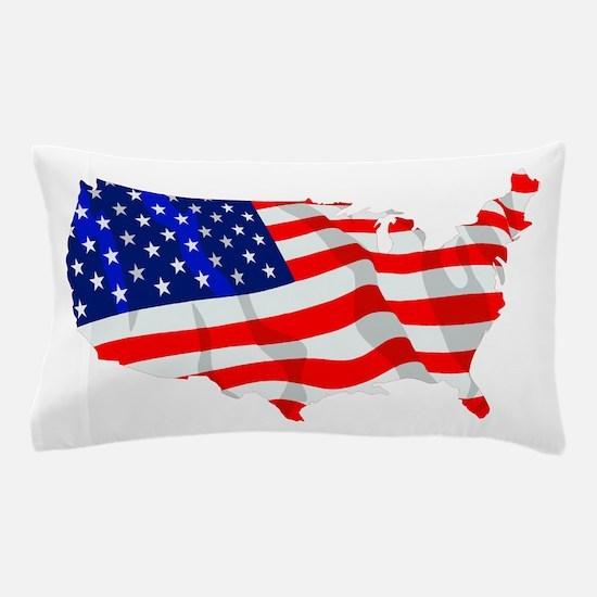 USA Flag Map Pillow Case