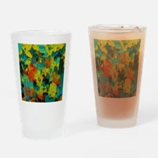 Blue and Gold Abstract with Orange Drinking Glass