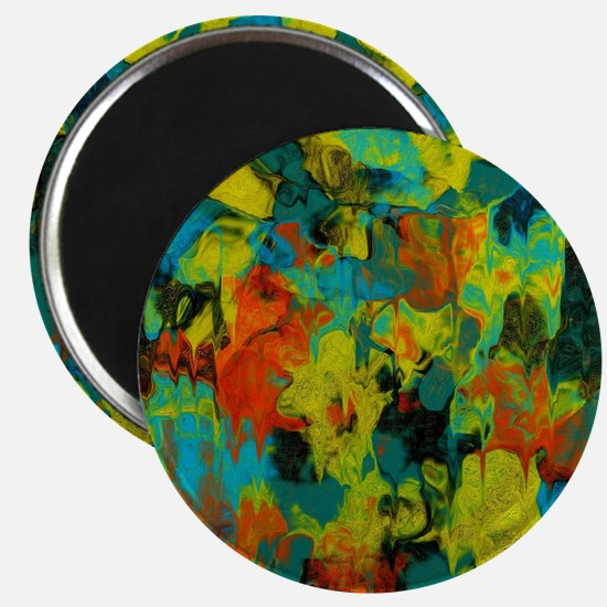 Blue and Gold Abstract with Orange Magnet