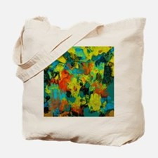 Blue and Gold Abstract with Orange Tote Bag