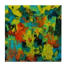 Blue and Gold Abstract with Orange Tile Coaster