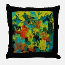 Blue and Gold Abstract with Orange Throw Pillow
