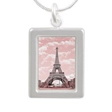 Eiffel Tower in pink Silver Portrait Necklace