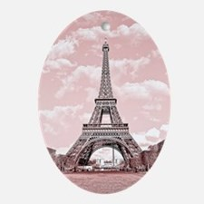 Eiffel Tower in pink Oval Ornament