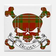Scott Tartan Skull Tile Coaster