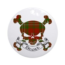 Scott Tartan Skull Ornament (Round)
