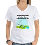 A Bad Day Fishing... Women's V-Neck T-Shirt