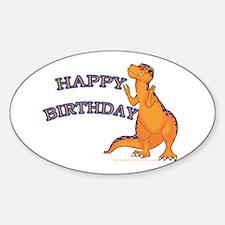 Happy Birthday Dino Oval Decal