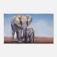 Elephants Mom Baby 3'x5' Area Rug