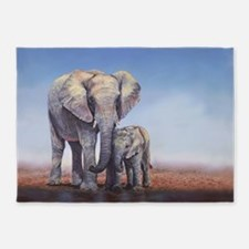 Elephants Mom Baby 5'x7'Area Rug