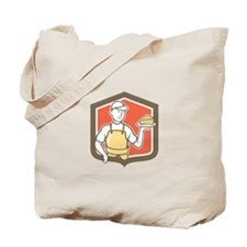 Cheesemaker Holding Parmesan Cheese Cartoon Tote B