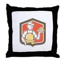 Cheesemaker Holding Parmesan Cheese Cartoon Throw