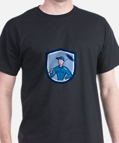 Chimney Sweep Worker Shield Cartoon T-Shirt