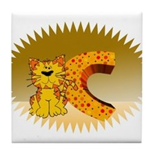 Cat alphabet Tile Coaster